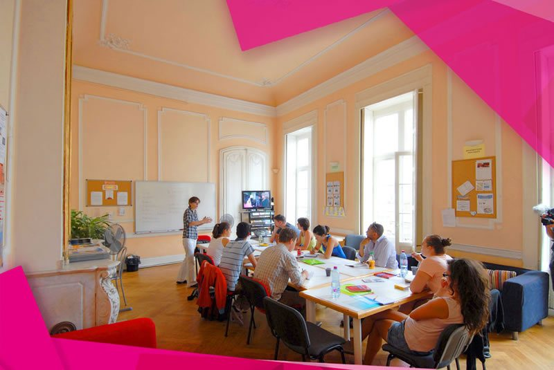 a lesson in a bright and spacious classroom at our French school in Montpellier