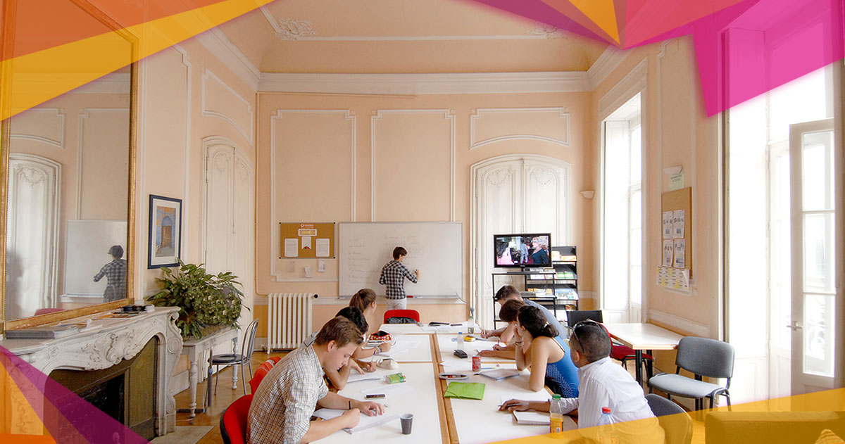 a magnificent luminous old french classroom with students working
