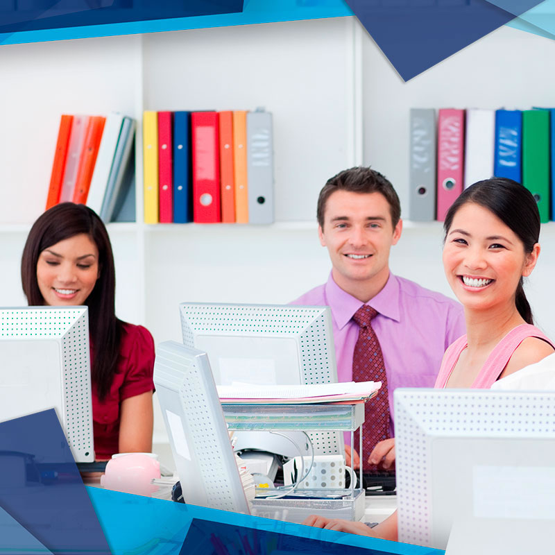 Business professionals in an office working together