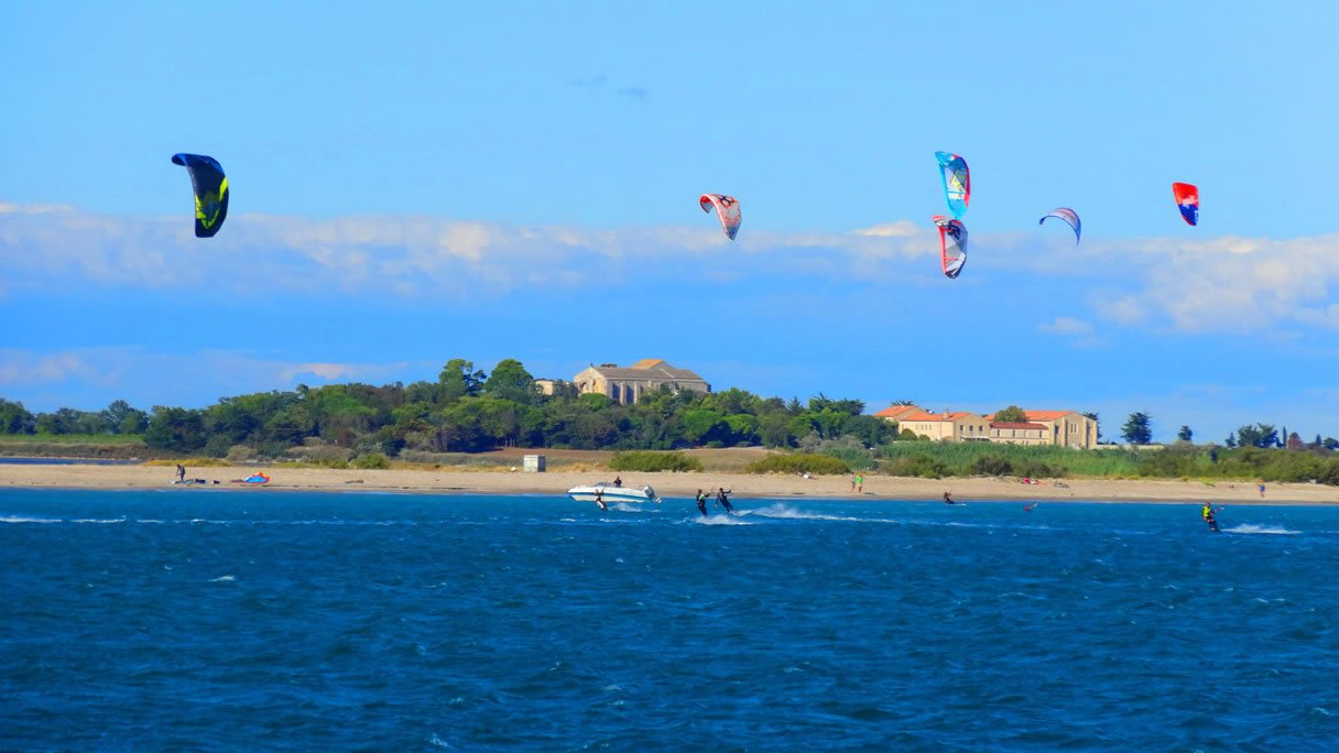 kite surfers on the mediterranean coast
