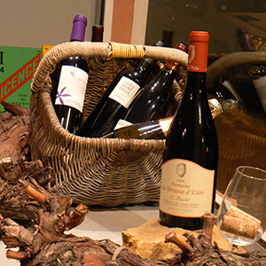 french wines posed in a traditional basket