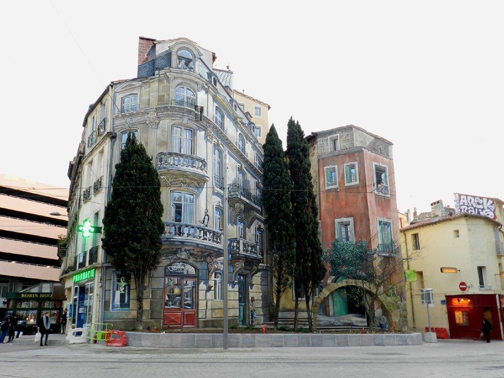 Fachadas que parecen sacadas de la vida real - Arte urbano en Montpellier